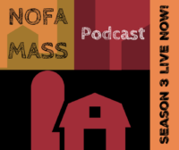 Icon of a barn with NOFA/Mass podcast text overlay